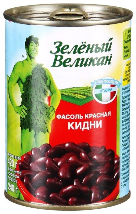 Фасоль Зелёный Великан Кидни красная, жестяная банка 420 г