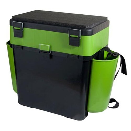 Ящик для рыбалки HELIOS FishBox двухсекционный (19л) 38х25.5х39.5см зеленый/черный