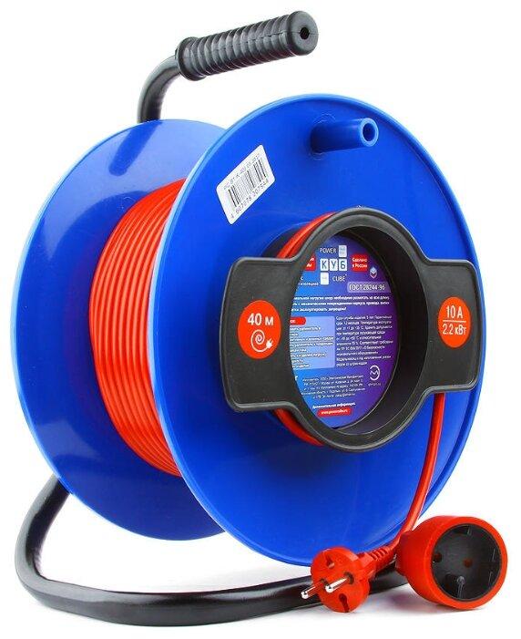 Power Cube Удлинитель на катушке 10А/2,2кВт, 1 розетка б/з, 40м