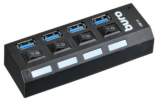 USB HUB (концентратор) USB 3.0 Buro BU-HUB4-U3.0-L 4порт. черный BU-HUB4-U3.0-L