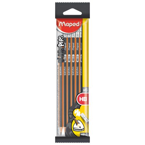 Купить Maped Набор чернографитных карандашей Black Peps 6 штук (851731), Карандаши