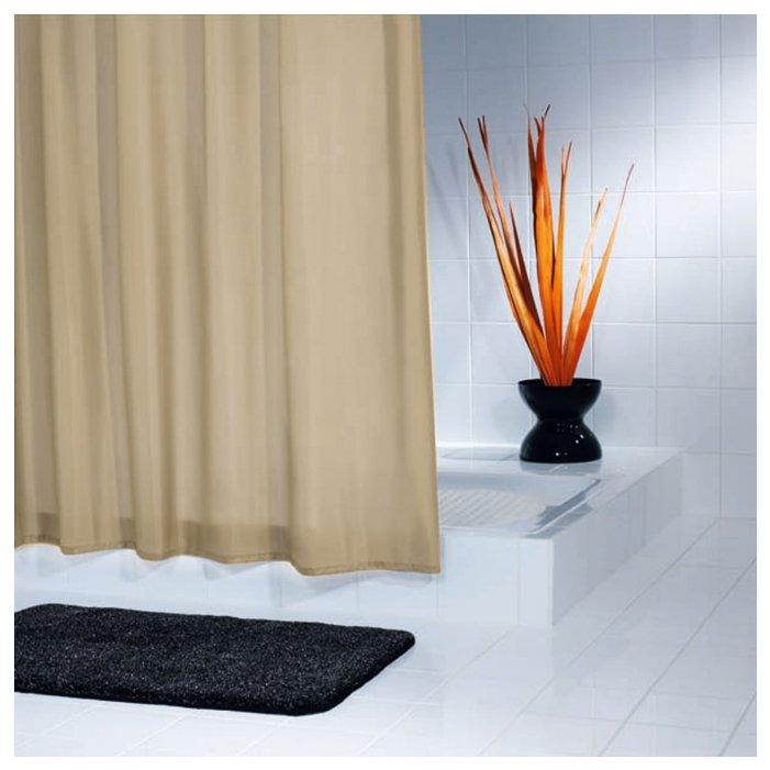 Карниз для шторки в ванную стальной, цвет-бежевый