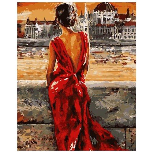 Цветной Картина по номерам Леди в красном 40х50 см (GX8946), Картины по номерам и контурам  - купить со скидкой