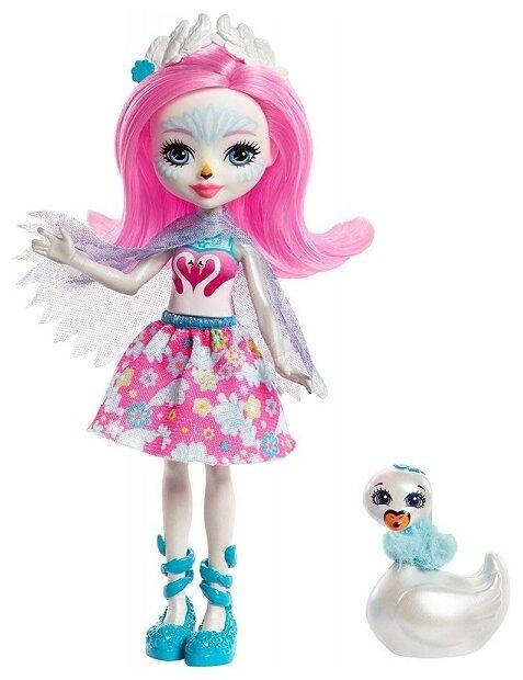 Кукла Enchantimals Саффи Лебедь с любимой зверюшкой, 15 см, FRH38