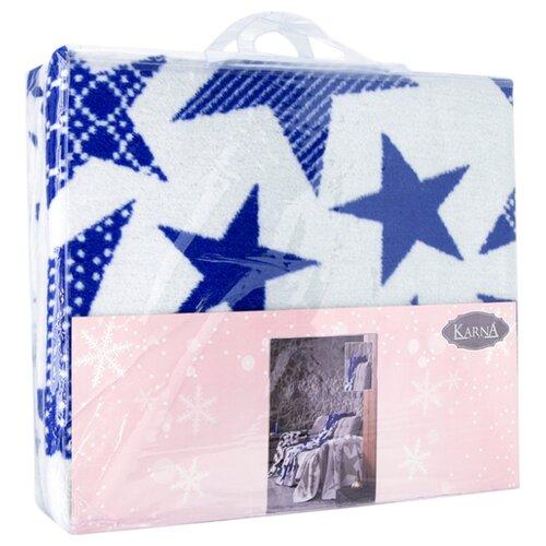 Плед KARNA STARS 150x240 см, голубой плед полутораспальный karna palma 160 220 см бежевый