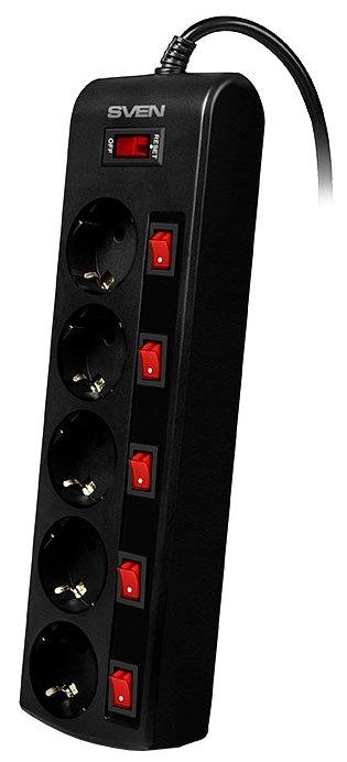 Сетевой фильтр SVEN SF-05PL черный, 1.8 м
