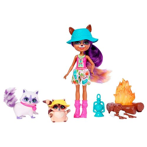 Купить Набор с куклой Enchantimals Милашки у костра Рейлин Енот, 15 см, FJJ29, Куклы и пупсы