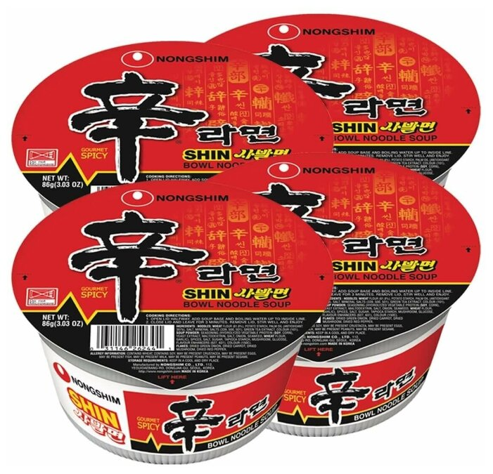 Купить Лапша быстрого приготовления Шин Рамен Nongshim, чашка 86 г х 4 шт по низкой цене с доставкой из Яндекс.Маркета