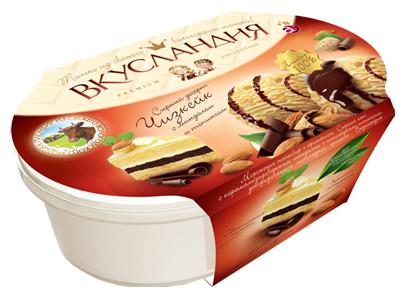Мороженое пломбир Вкусландия Сырный десерт Чизкейк с орехами и топингом, 450 г