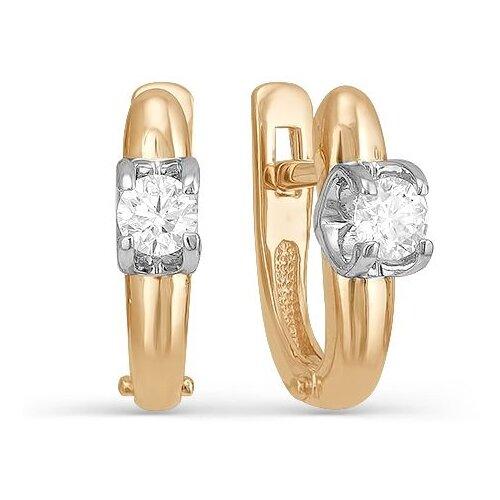 Мастер Бриллиант Серьги с 2 бриллиантами из красного золота 2-106-354 фото