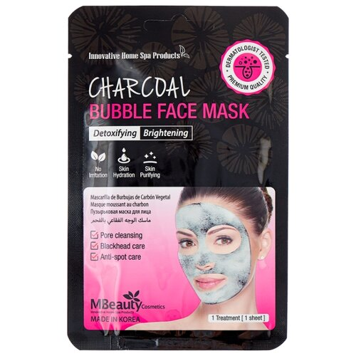 Mbeauty тканевая маска Charcoal Bubble Face Mask очищающая пузырьковая с древесным углем, 20 мл фото