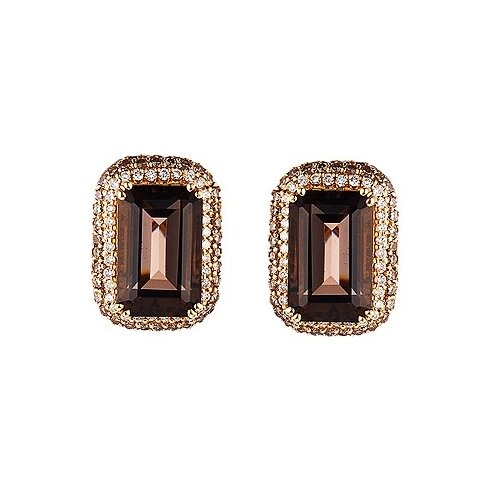 JV Серьги из золота с бриллиантами и топазами E12582-DN-SQ-YG