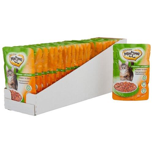 Корм для стерилизованных кошек Мнямс с кроликом 24шт. х 100 г (кусочки в соусе) корм для стерилизованных кошек мнямс с ягненком 100 г кусочки в соусе