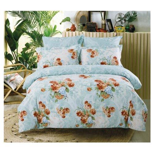 Постельное белье семейное СайлиД B-166, сатин голубой кпб семейное голубой попугай сирень постельное белье с рисунком