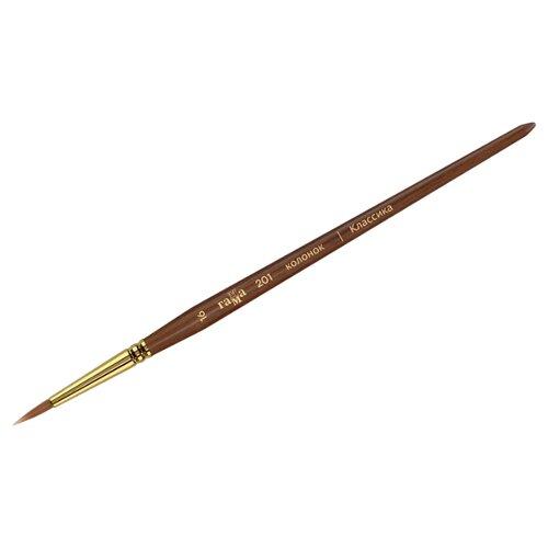 Купить Кисть ГАММА Классика, колонок №16, круглая, длинная ручка (201016) бордовый, Кисти