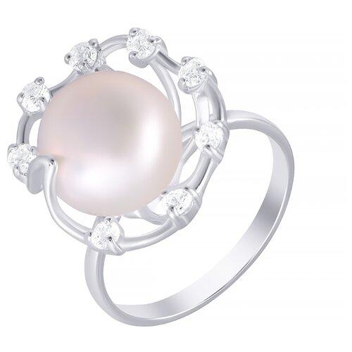 ELEMENT47 Кольцо из серебра 925 пробы с культивированным жемчугом и кубическим цирконием KR150084_KO_WP_003_WG, размер 18.5