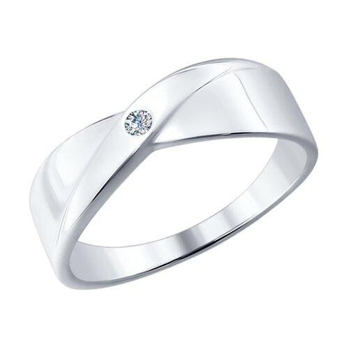 SOKOLOV Кольцо из серебра с бриллиантом 87010004, размер 16.5
