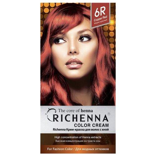 Richenna Крем-краска для волос с хной, 6R copper red