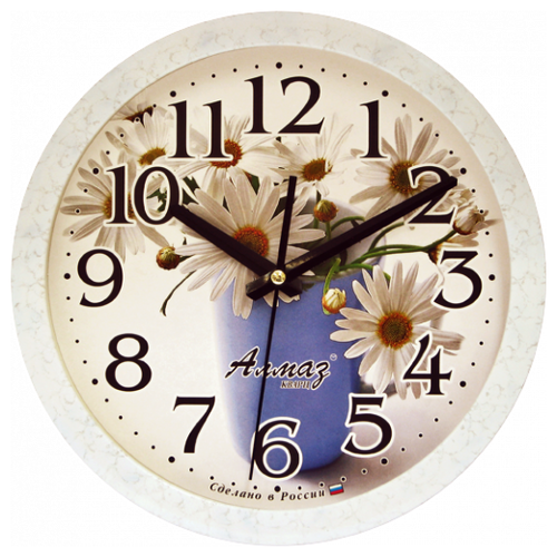 Часы настенные кварцевые Алмаз B14 белый/голубойЧасы настенные<br>