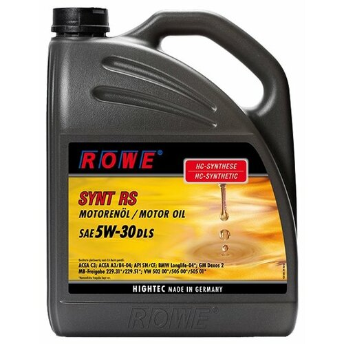 Моторное масло ROWE Hightec Synt RS DLS SAE 5W-30 5 л моторное масло rowe hightec synt rsi sae 5w 40 20 л
