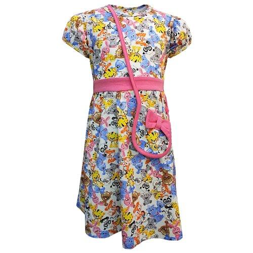 Платье TREND размер 92-52(26), 5004 белый/игрушки/розовый