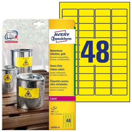 Фото - Этикетки всепогодные, 45,7x21,2 мм, полиэстер, 960 штук, 20 листов, желтые этикетки всепогодные 99 1x139 мм удаляемые 80 штук 20 листов белые