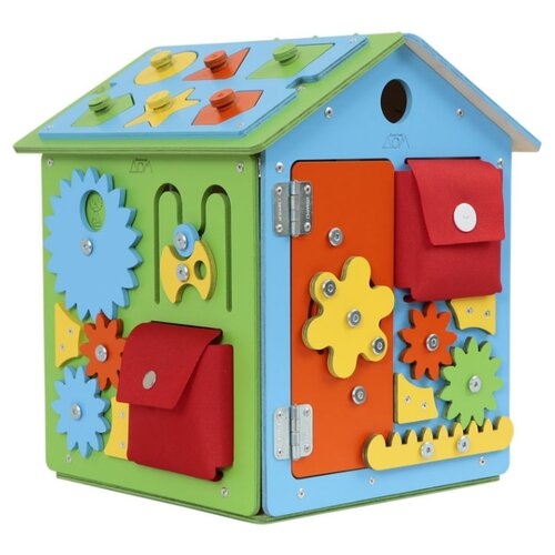 Купить Бизиборд Занятный дом МиниДом Яркий голубой/зеленый, Развитие мелкой моторики