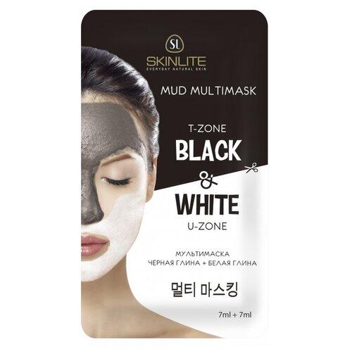 Skinlite Мультимаска Черная глина+белая глина, 14 мл