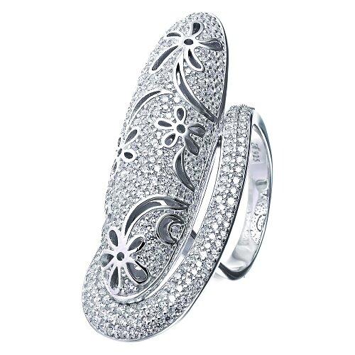 ELEMENT47 Кольцо из серебра 925 пробы с кубическим цирконием KJ0026R_001_WG, размер 17