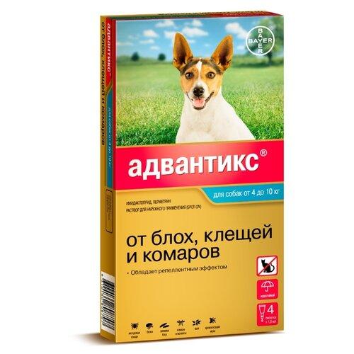 Адвантикс (Bayer) капли от блох и клещей инсектоакарицидные (4 пипетки) для собак и щенков 4-10 кг relaxivet relaxivet капли spot on успокоительные для кошек и собак 4 пипетки по 0 5 мл
