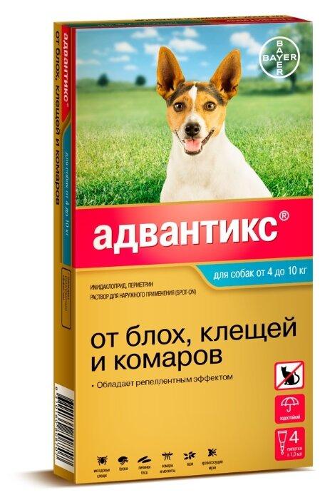 Средства от блох Bayer GL Адвантикс 100С Капли для собак от 4 до 10 кг от блох и клещей, 4 пипетки (0,03 кг)