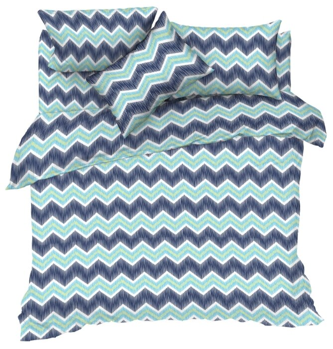 Постельное белье 1.5-спальное Текстильная лавка Зигзаг бязь синий/зеленый