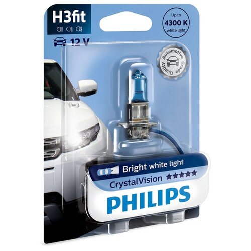 цена на Лампа автомобильная галогенная Philips Crystal Vision 12336CVB1 H3 55W 1 шт.