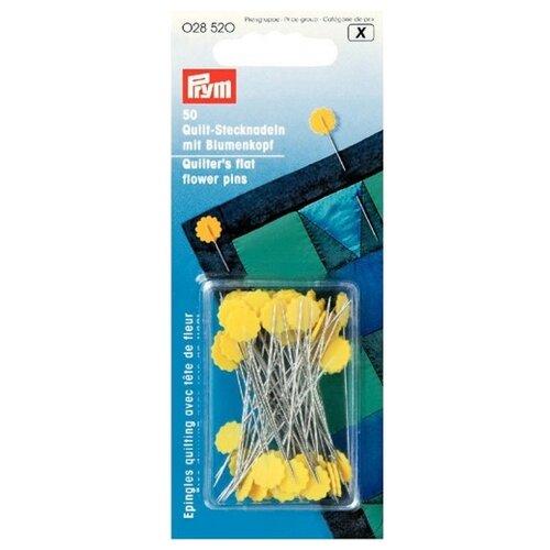 Купить Набор булавок Prym 028520 для квилтинга с цветочной головкой, серебристый/желтый, 50 шт., Иглы