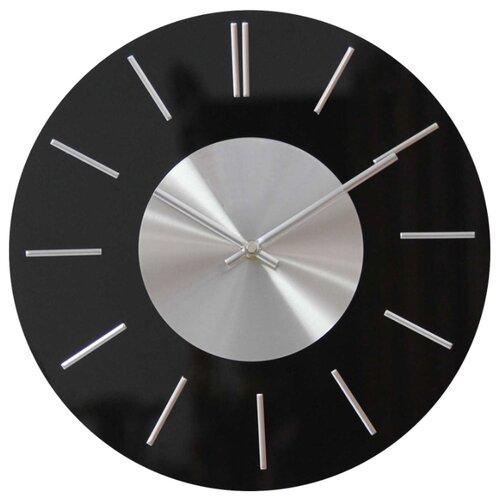 Часы настенные, круглые, черные, стекло