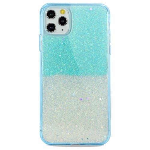 Силиконовый двуцветный чехол для (Эпл) iPhone 11 Pro Max Гель с Блестками / Pastila (Голубой)