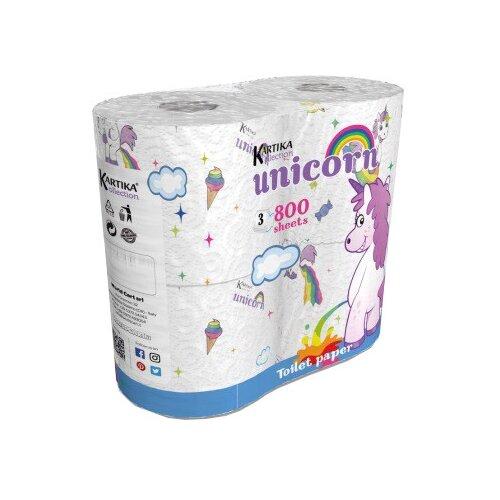 Туалетная бумага World Cart Kartika collection Unicorn белая трёхслойная, 4 рул.  - Купить