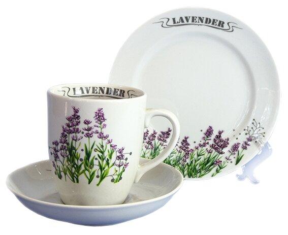 Набор для завтрака Добрушский фарфоровый завод Набор подарочный Трио Лаванда 3 предмета