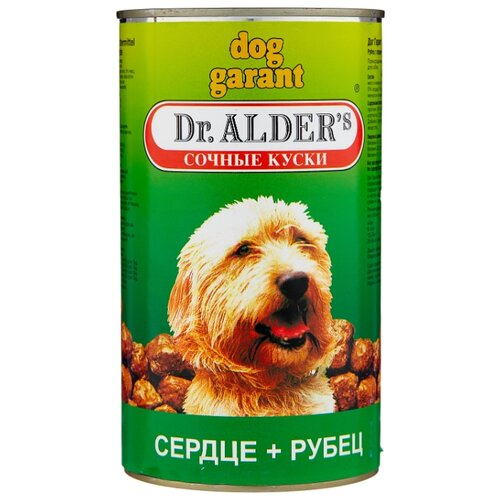 Корм для собак Dr. Alder`s (1.2 кг) 1 шт. ДОГ ГАРАНТ рубец + сердце кусочки в желе Для взрослых собак корм для собак dr alder s дог гарант сочные кусочки в соусе рубец сердце конс 1230г