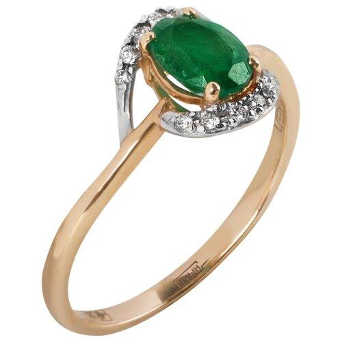 Yvel Кольцо с изумрудом и бриллиантами из красного золота 00453182, размер 18.5