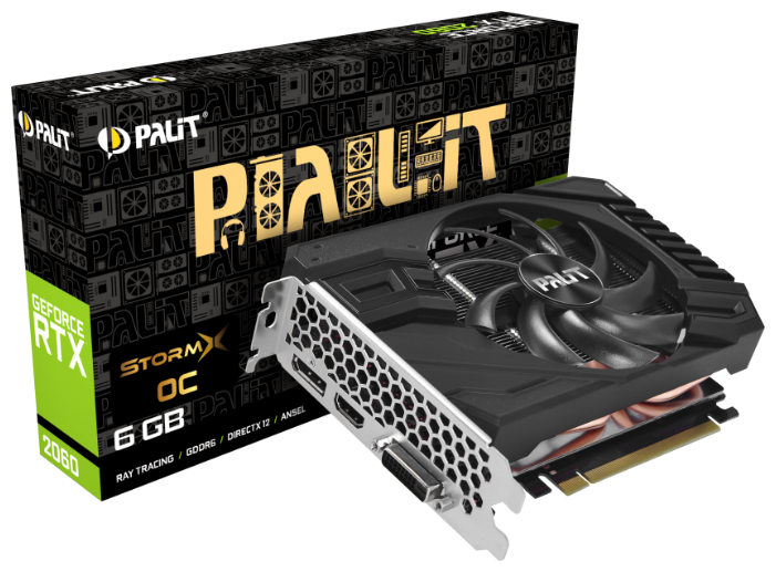 Видеокарта Palit GeForce RTX 2060 1365MHz PCI-E 3.0 6144MB 14000MHz 192 bit DVI HDMI HDCP StormX OC