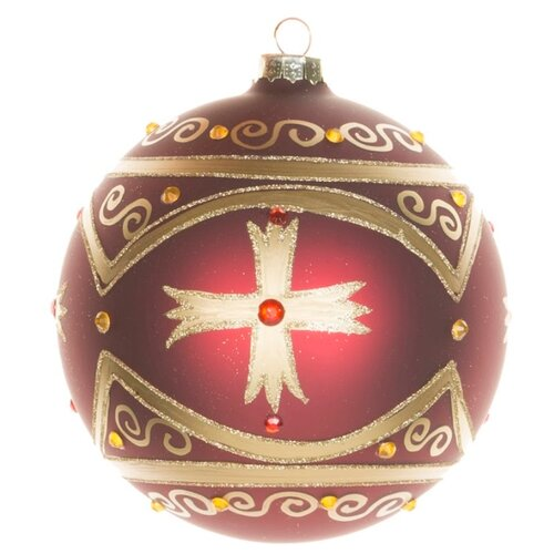 Набор шаров KARLSBACH 06855, бордовый с золотым крестом