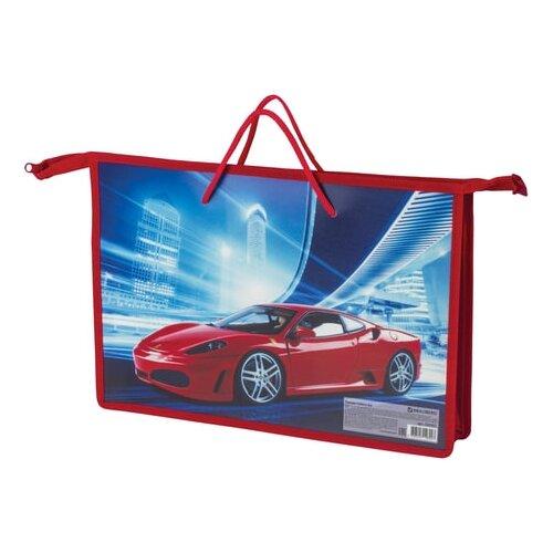 BRAUBERG Папка на молнии с ручками А4 Красный авто красный/синий папка brauberg танк а4 с ручками