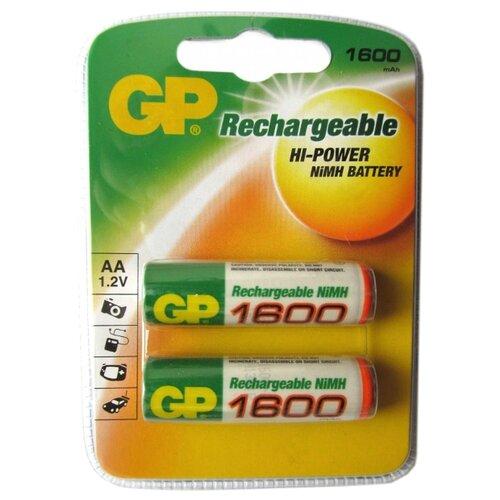 Фото - Аккумулятор Ni-Mh 1600 мА·ч GP Rechargeable 1600 Series AA, 2 шт. аккумулятор ni mh 1000 ма·ч smartbuy rechargeable aa 2 шт