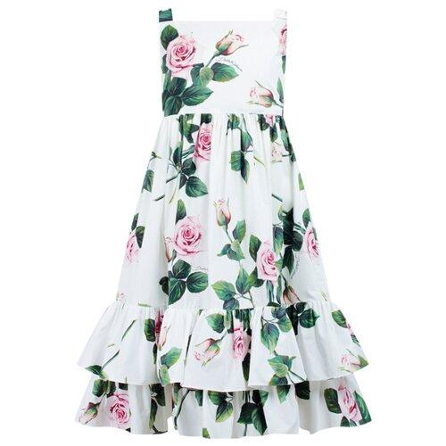 Платье DOLCE & GABBANA размер 152, белый/цветочный принт