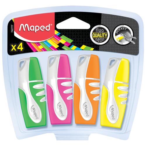 Купить Maped Набор мягких карманных текстовыделителей, 4 шт (742777), Маркеры