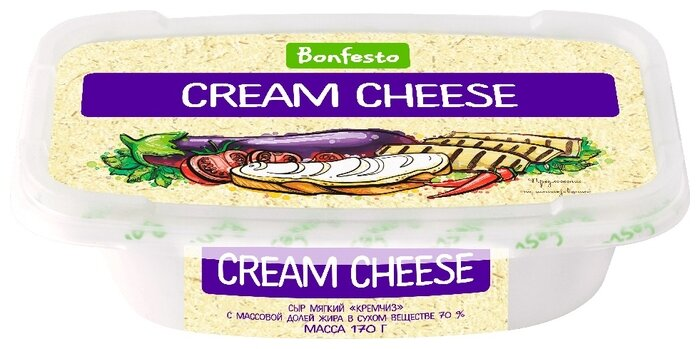 Творожный сыр Bonfesto Cream Cheese 70% 170 г, 170 г.