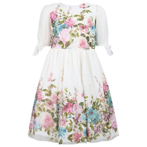 Платье Lesy размер 128, белый/цветочный принт