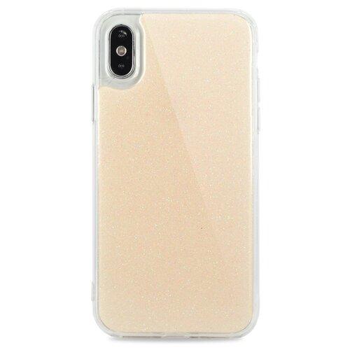 Противоударный силиконовый чехол для ( ) iPhone X / XS Гель с блестками / (Золото)