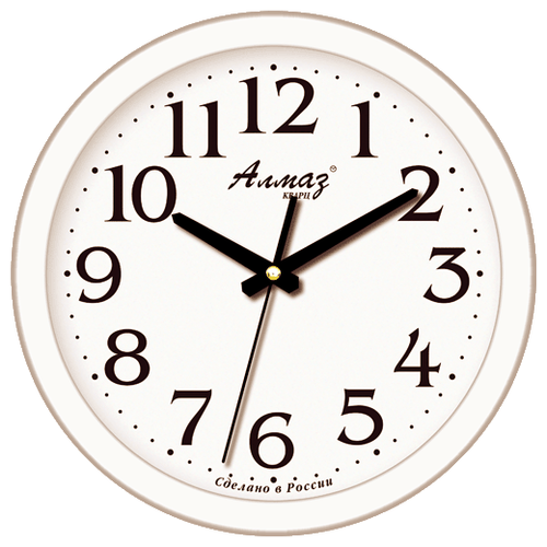 Фото - Часы настенные кварцевые Алмаз E02 белый часы настенные кварцевые алмаз a87 коричневый белый